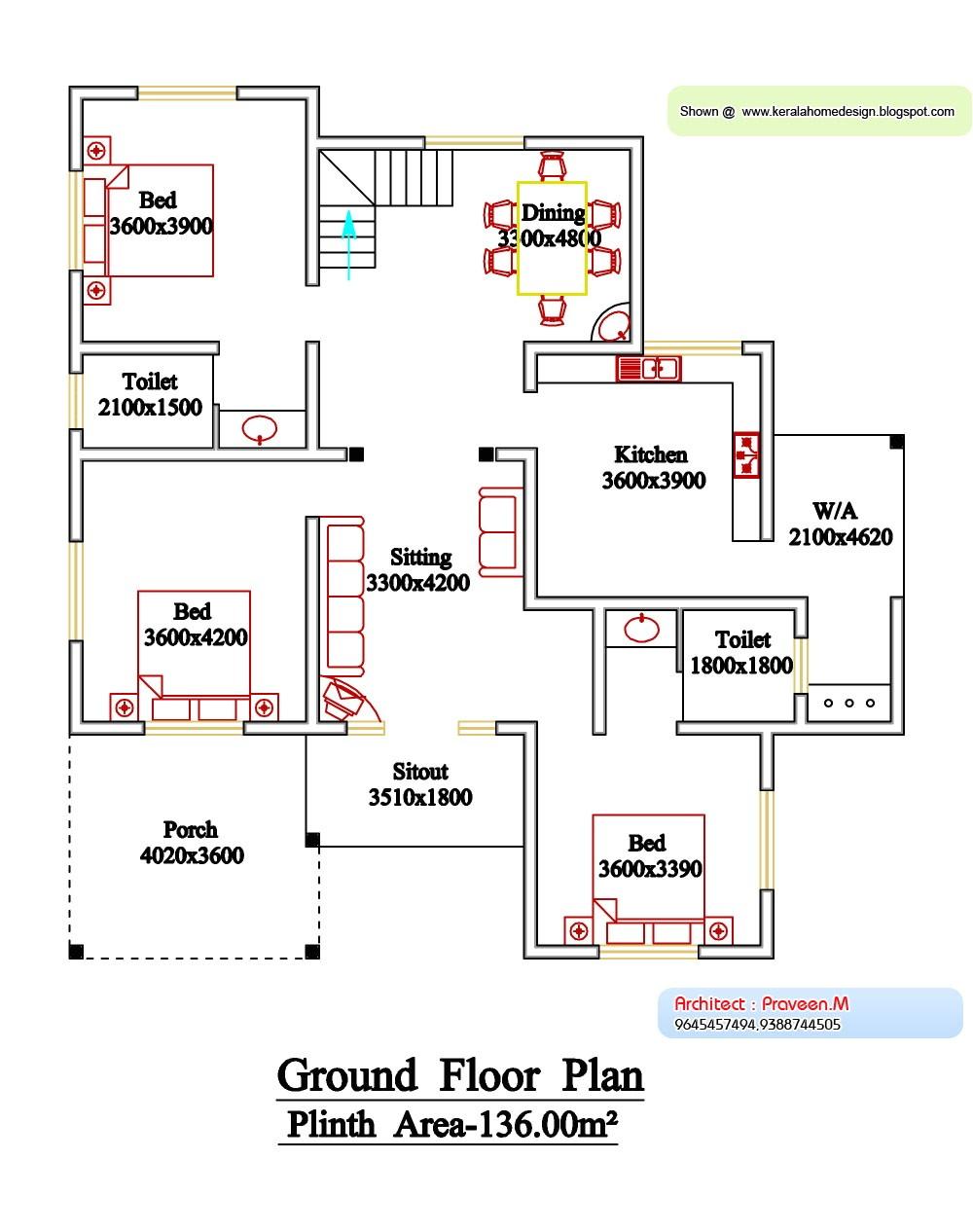 kerala style floor plan and elevation 6