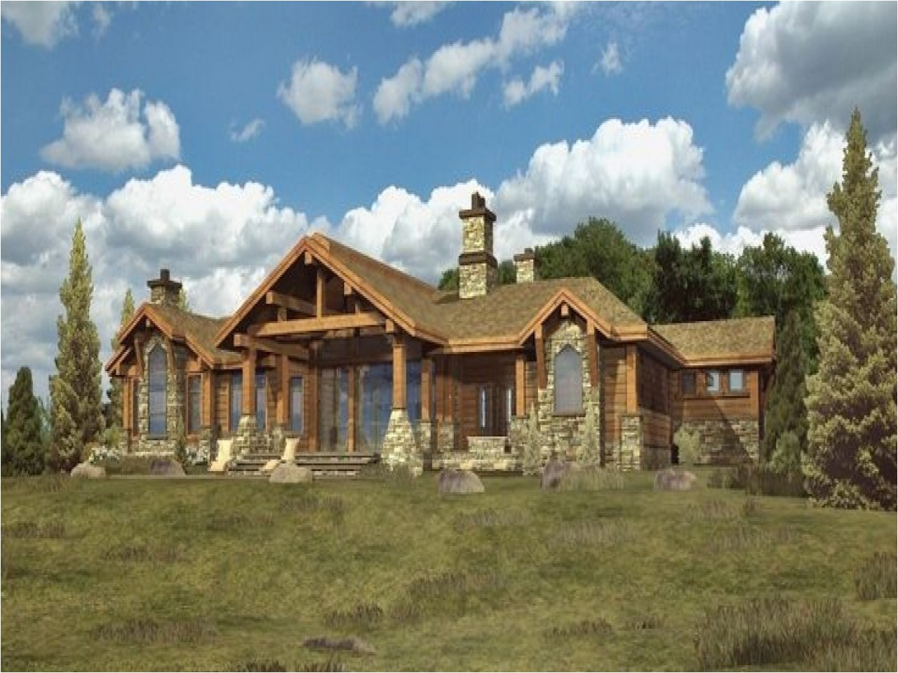730346db3a8cce7d log home mansions log cabin ranch style home plans