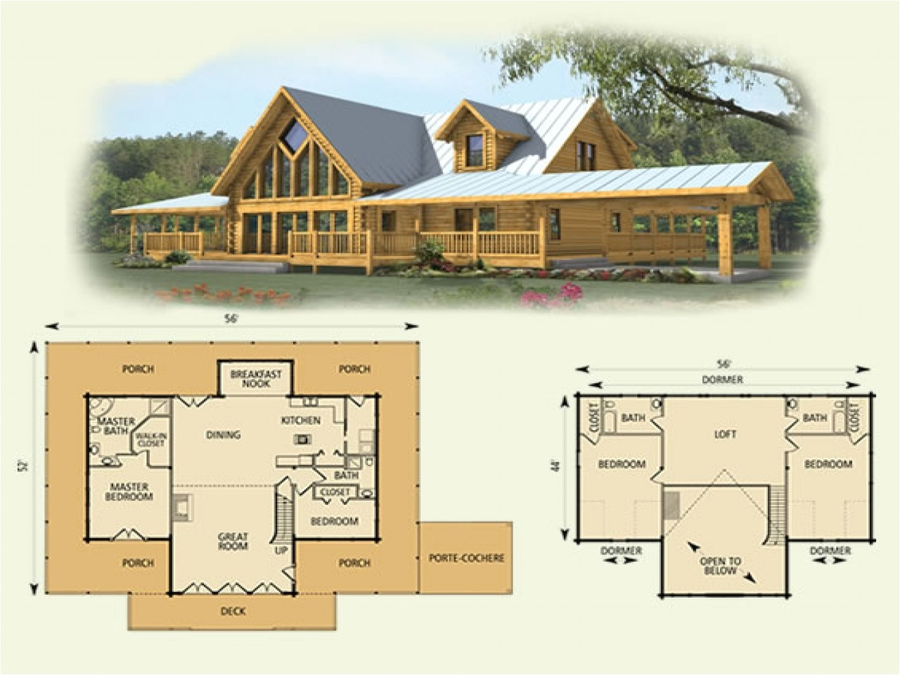 log home floor plans with loft and garage