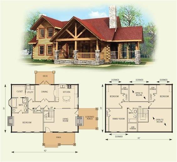 4 bedroom log home floor plans