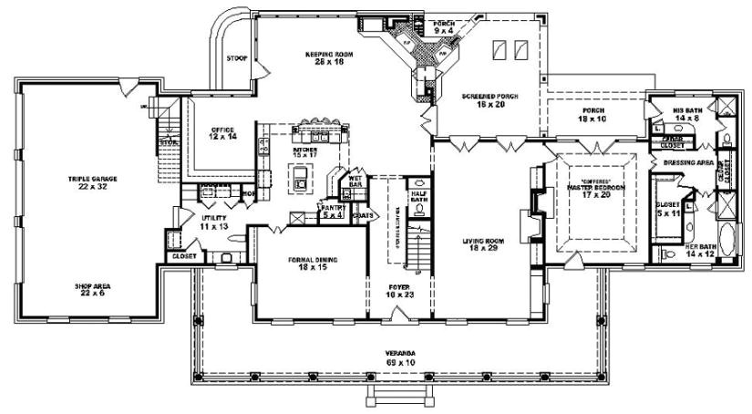 653901 1 5 story 4 bedroom 3 5 bath louisiana plantation style house plan
