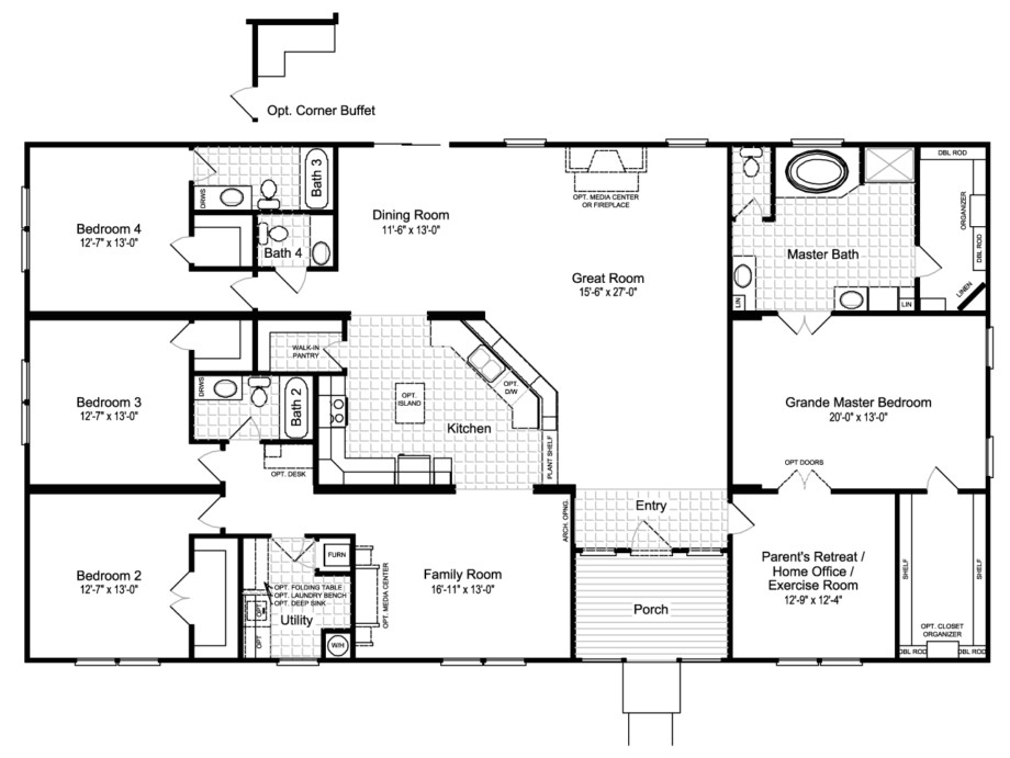 best ideas about manufactured homes floor plans and 4 bedroom mobile home