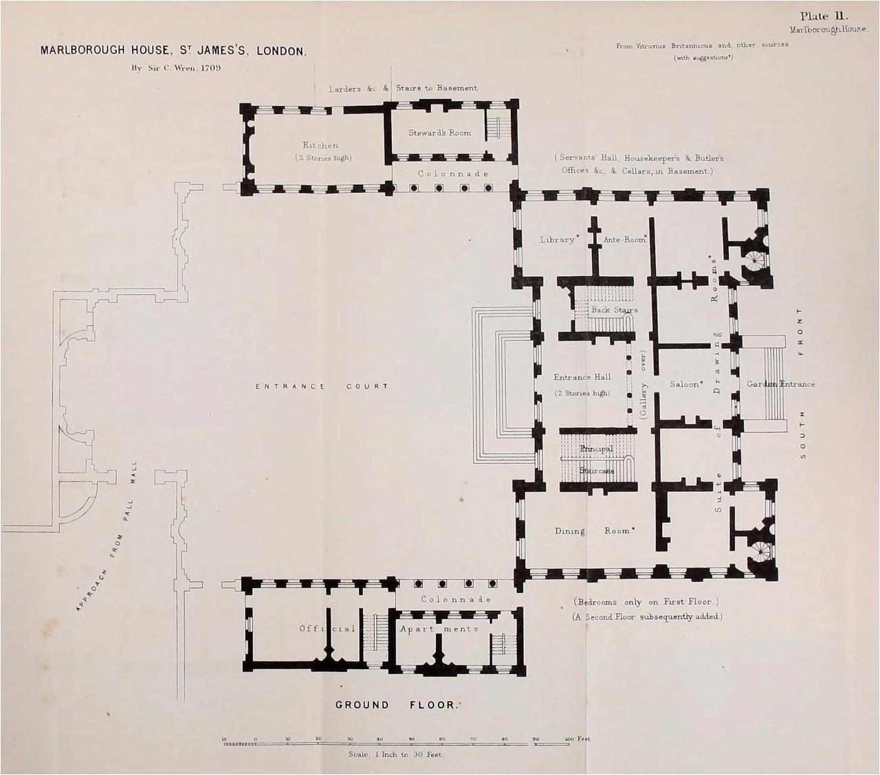 floor plan of marlborough house london