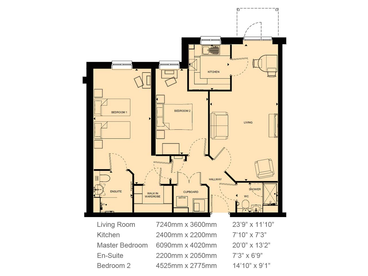 2 bed retirement property 86420
