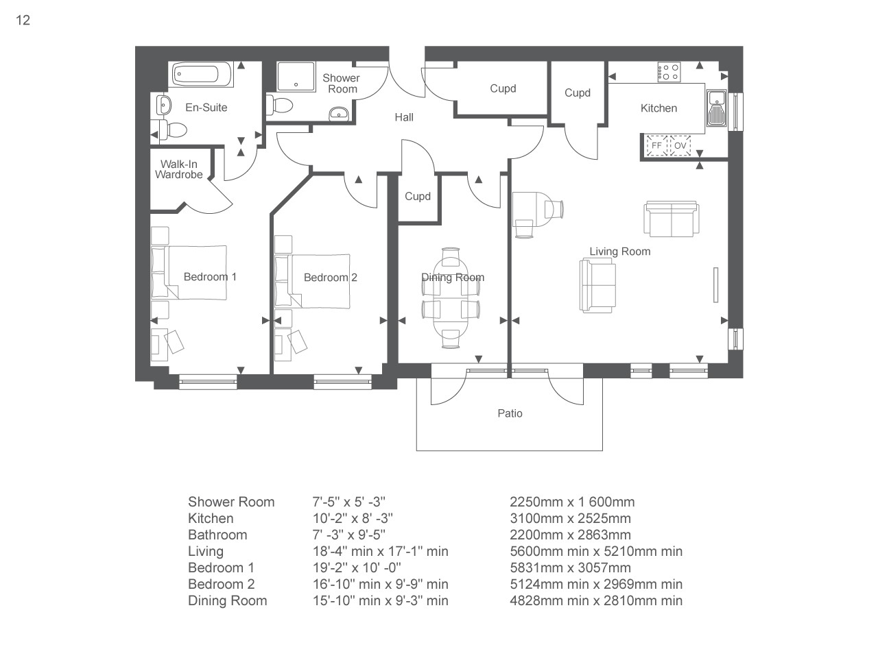 3 bed retirement property 86888