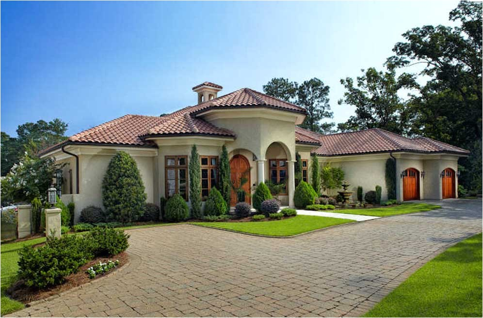 awesome mediterranean home plans with courtyards designed with cream wall paint color combine with orange clay roof tile