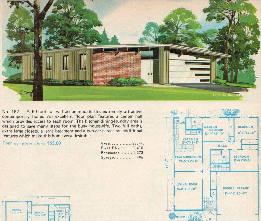 mid century modern ranch house plans style