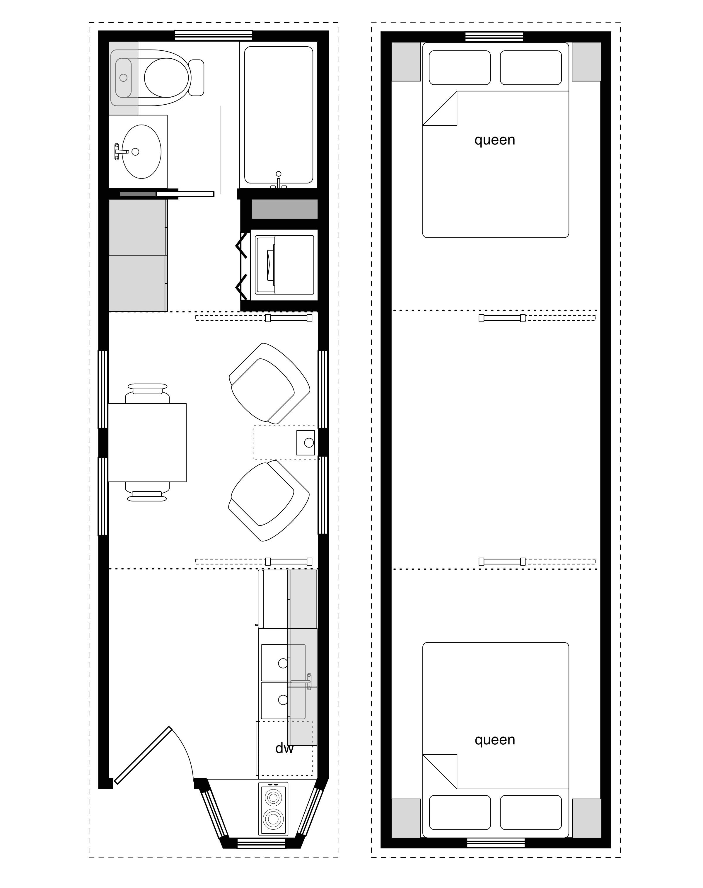 sample floor plans for the 8x28 coastal cottage