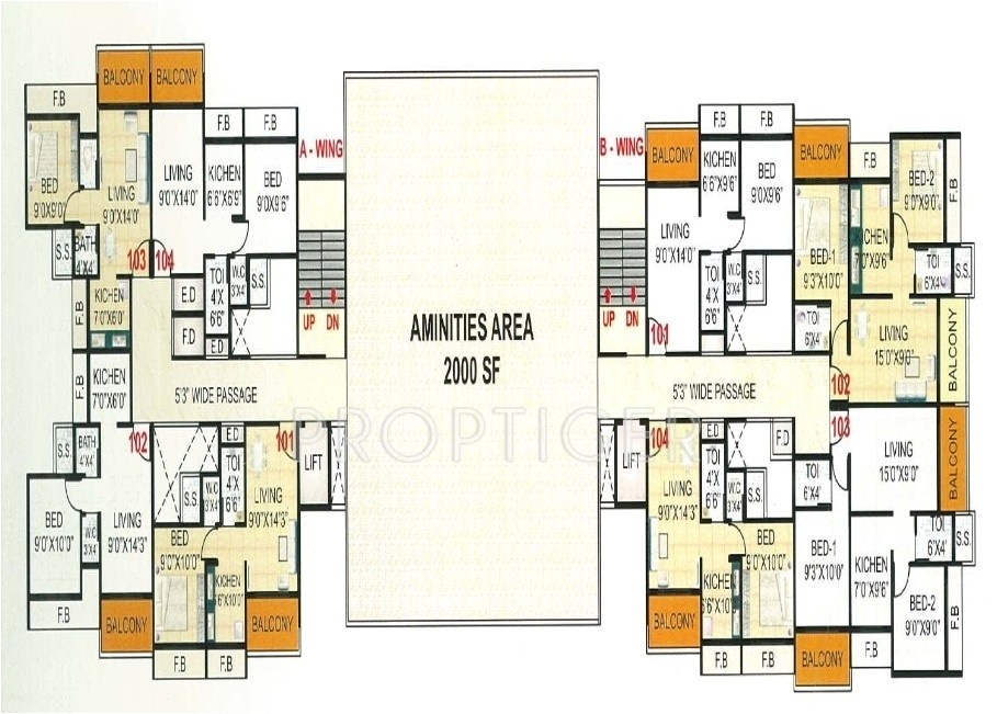 2bhk 2t 930 sqft apartment