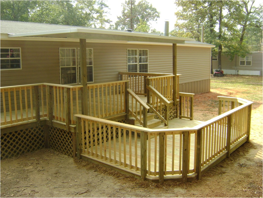 covered wood deck on mobile home