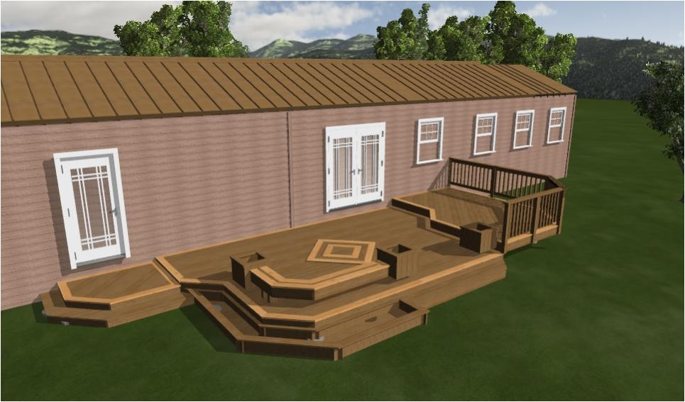 nice mobile home deck design plan showing taupe rooftop