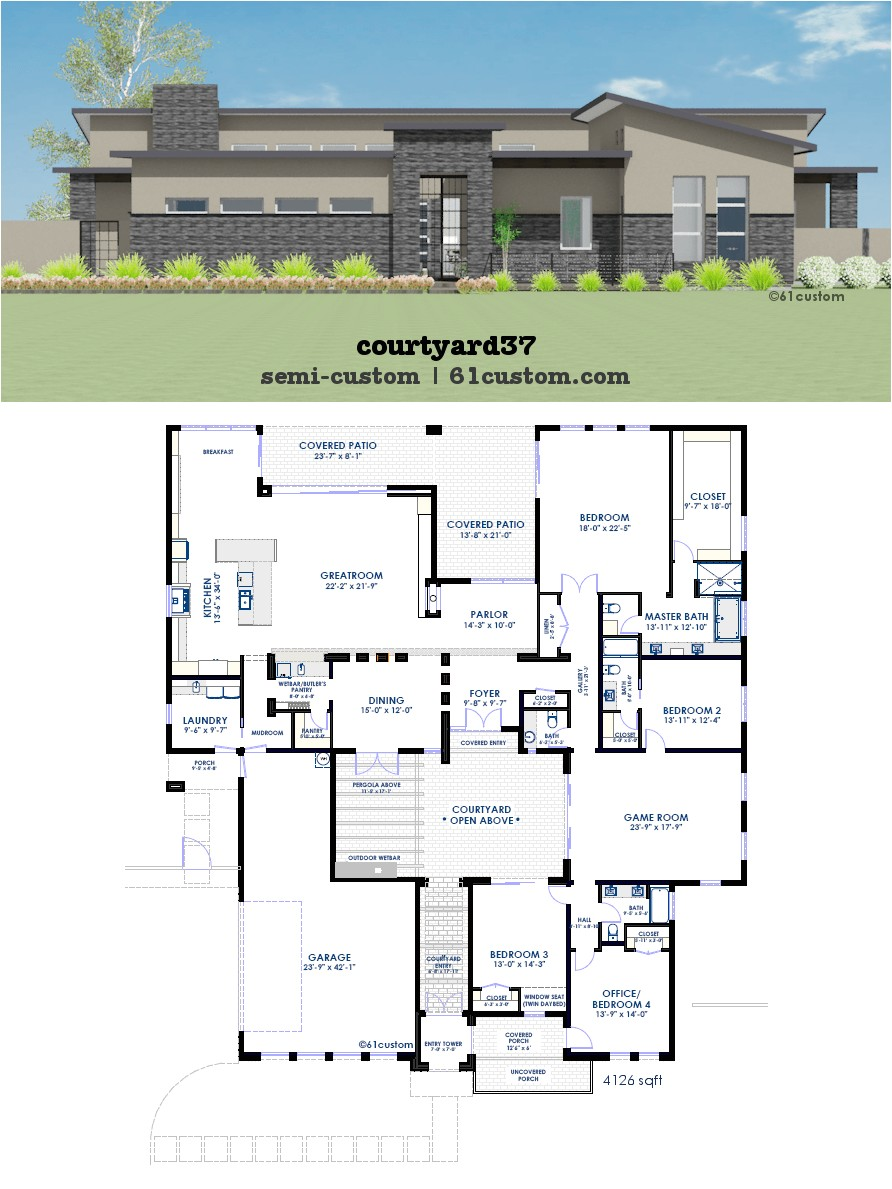 modern courtyard house plan