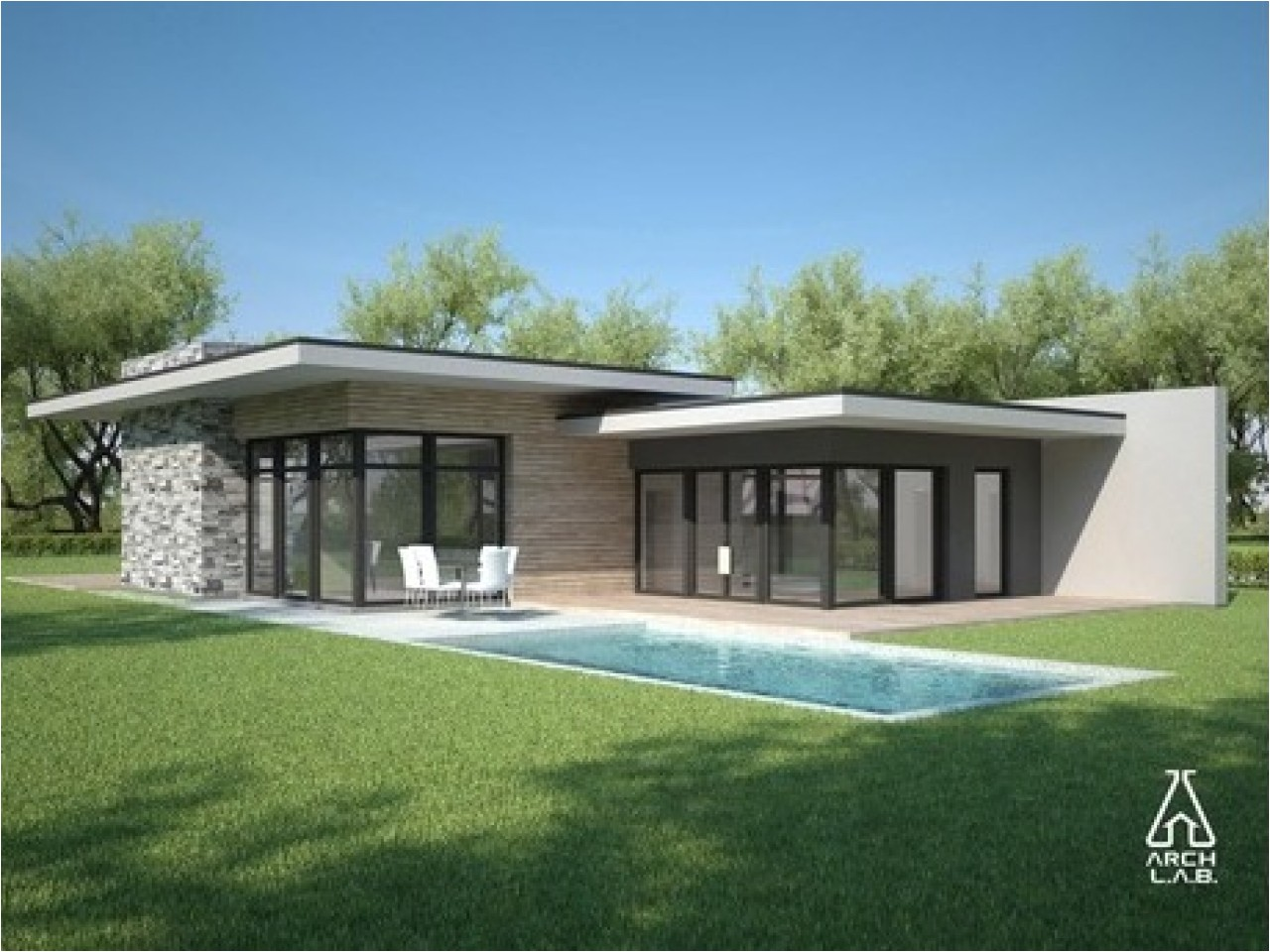 Modern Single Story Home Plans Flat Roof Style Homes Flat Roof Modern House Plans One