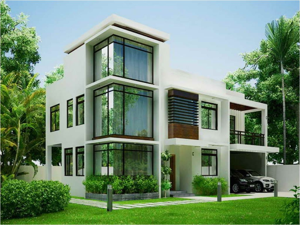 white modern contemporary house plans