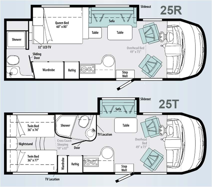 winnebago via class a motorhome floorplans