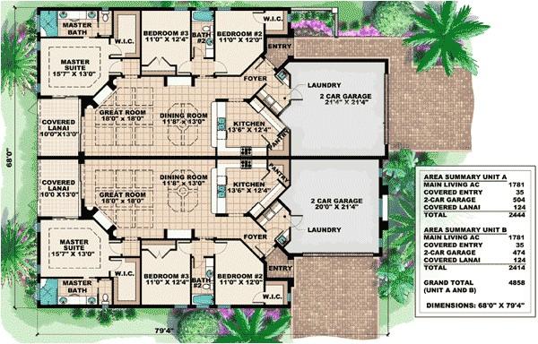 mediterranean multi family house plan 66174gw