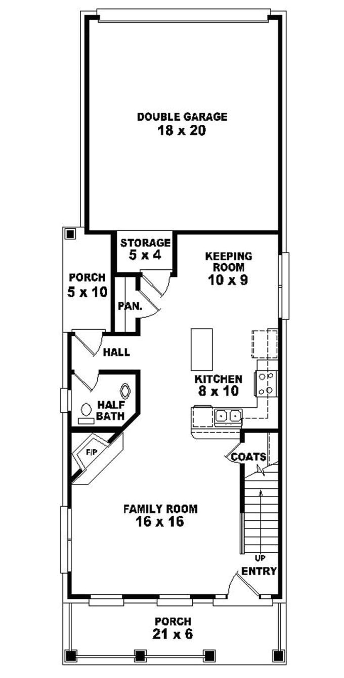 Narrow House Plans With Garage In Back Plougonvercom