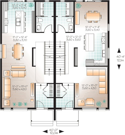 Narrow Lot Multi Family House Plans Narrow Lot Multi Family Home Plan 22327dr 2nd Floor