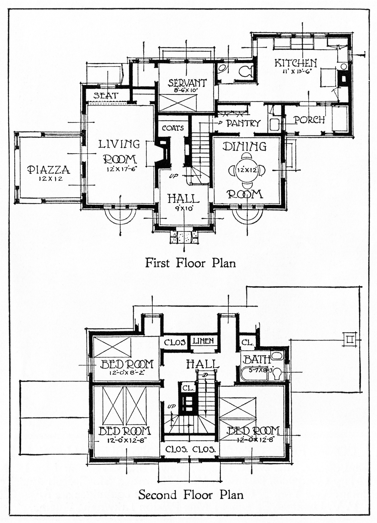 free vintage images 1917 house illustration and floor plans