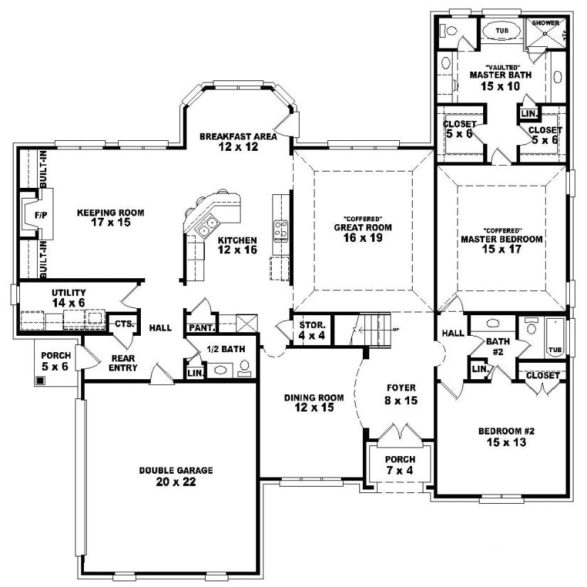 653992 one and a half story 4 bedroom 3 5 bath french style house plan
