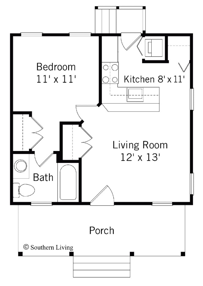 house plans for 1 bedroom homes