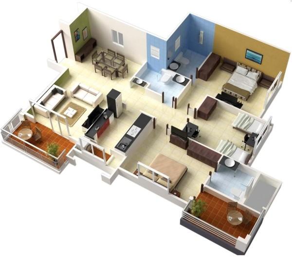 3 bedroom apartment house 3d layout floor plans