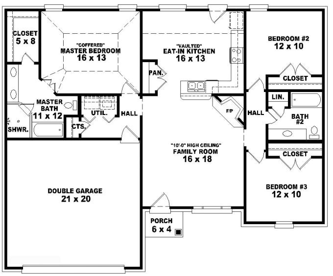 653788 one story 3 bedroom 2 bath french traditional style house plan