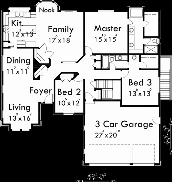 3 car garage single level house plans