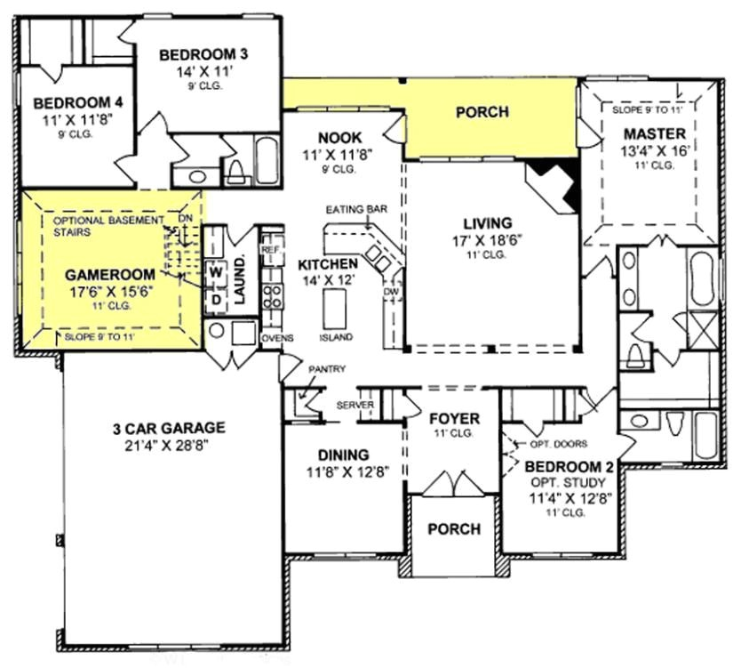 One Level House Plans with 3 Car Garage 655799 1 Story Traditional 4 Bedroom 3 Bath Plan with 3
