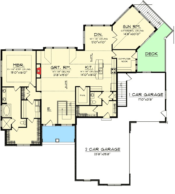 craftsman ranch with walkout basement 89899ah 1st ace08e156fc67fbc
