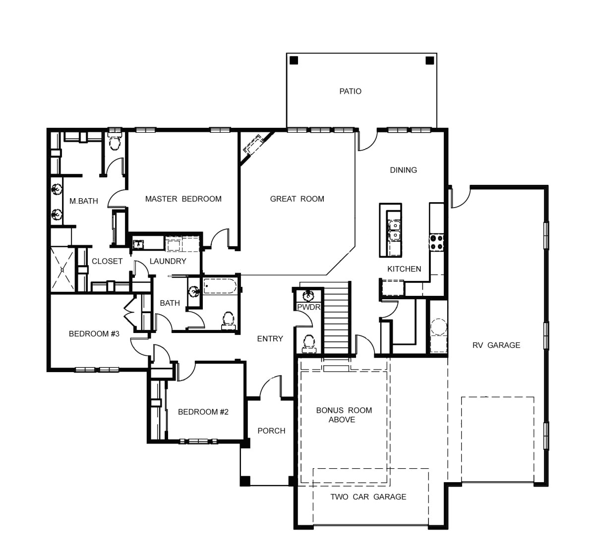 one story house plans with bonus room