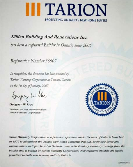 Ontario New Home Warranties Plan Act Killian Building and Renovations Millbrook On General