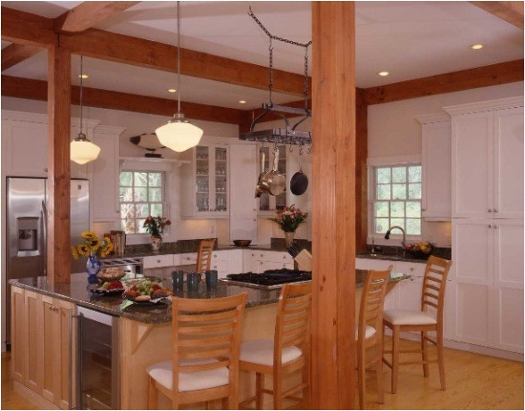 post and beam kitchens with floor plans that work