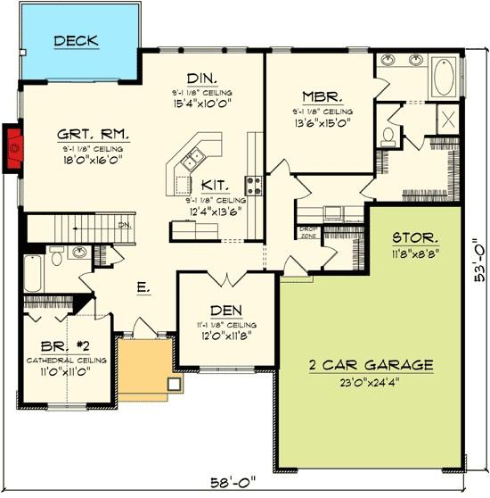 open concept ranch home plan 89845ah