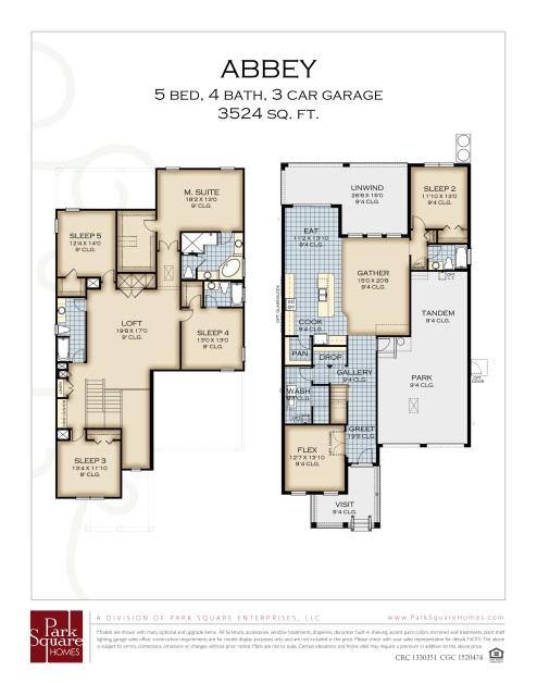 park square homes floor plans