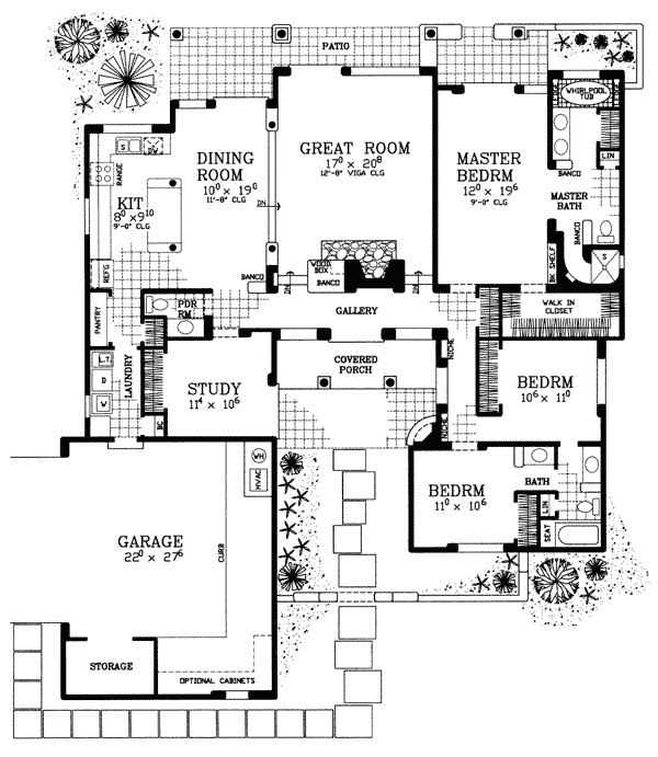 great covered patio home plan 81394w