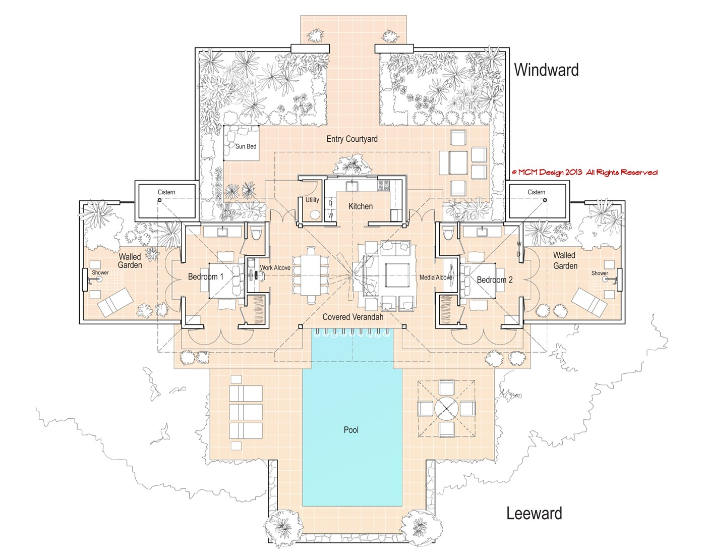 minimum island house plan