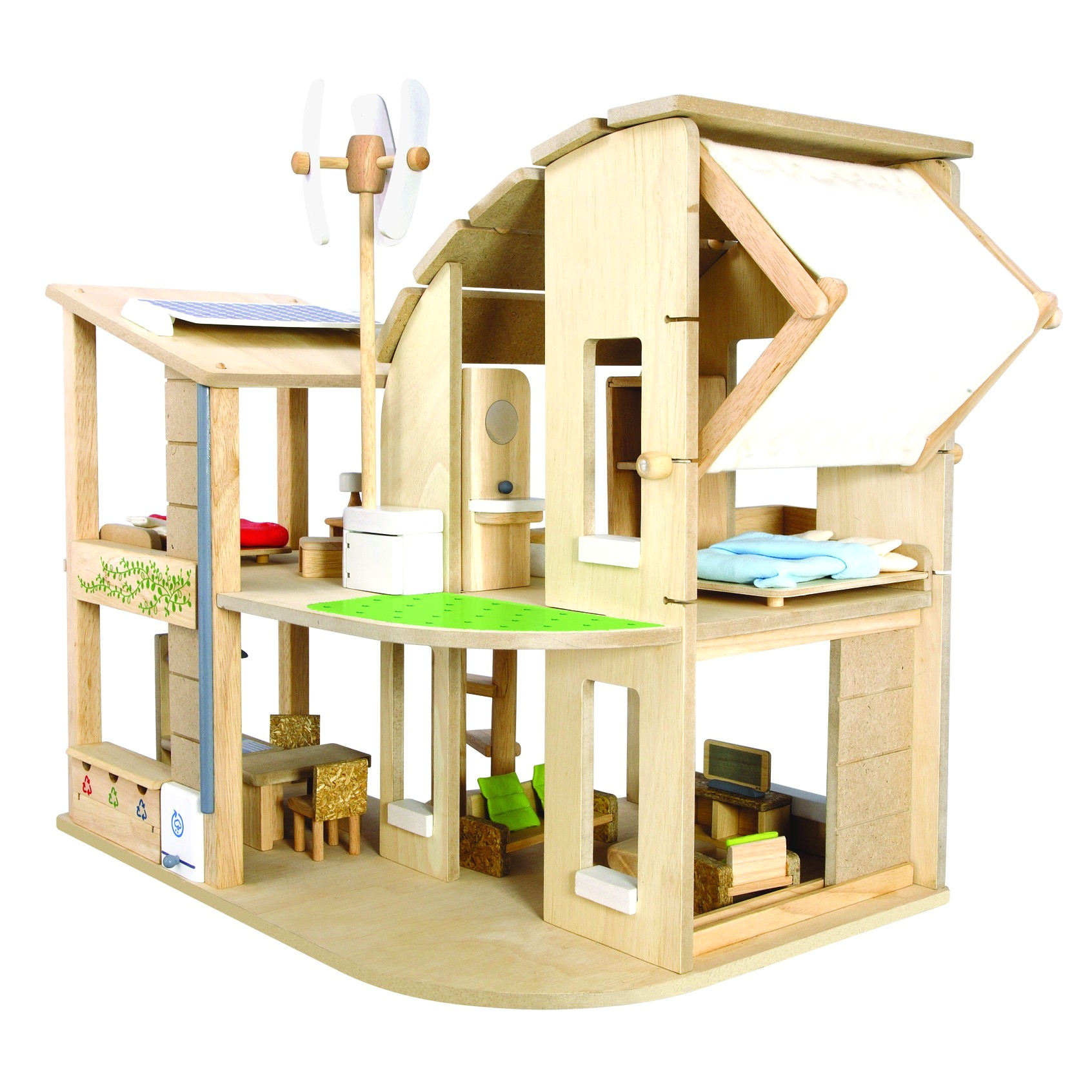 green dolls house with furniture