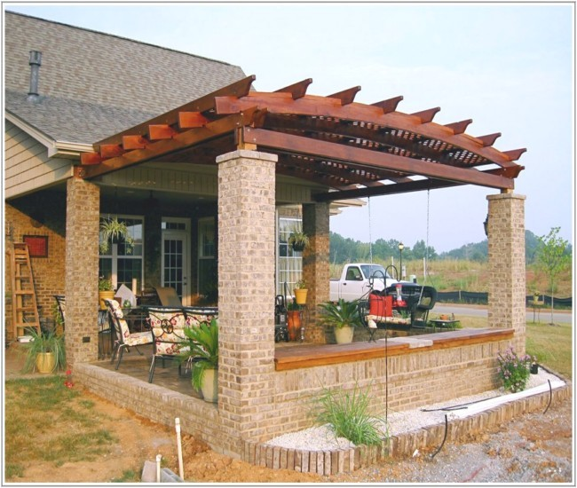 fantastic free pergola designs attached to house
