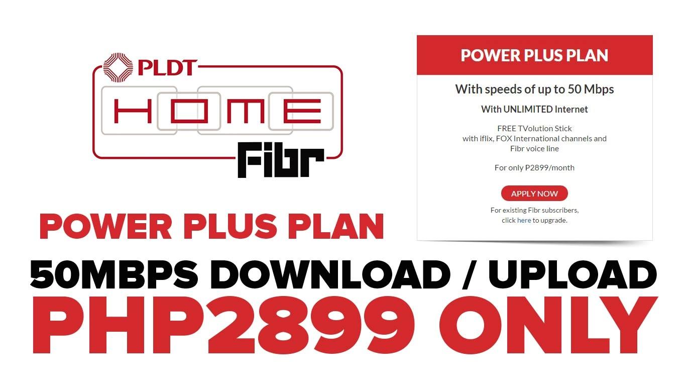pldt home fibr unveiled power plus plan e2 82 b12899 per month 50mbps symetrical speed