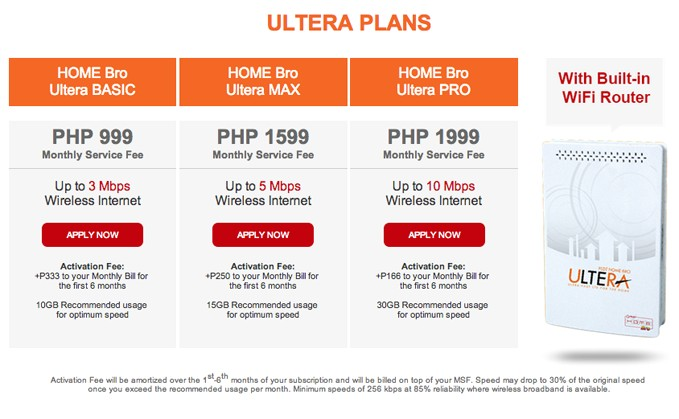 pldt home bro ultera offers lte speed internet connection for the family