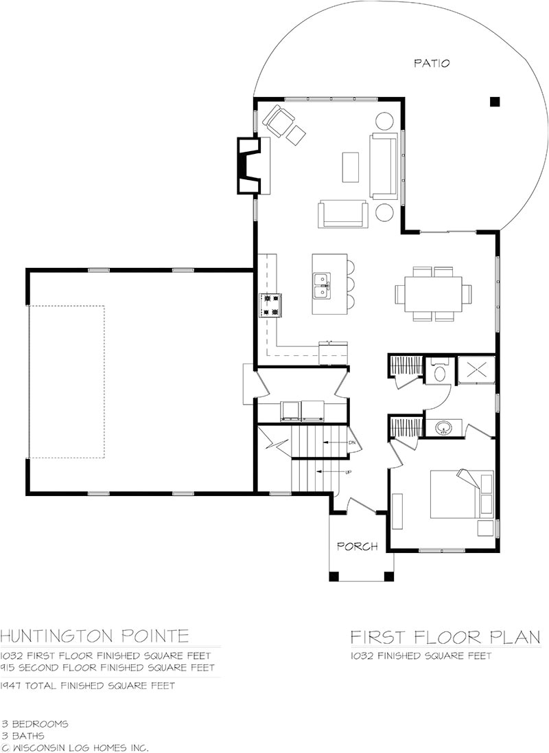 huntington pointe log home floor plan by wisconsin log homes