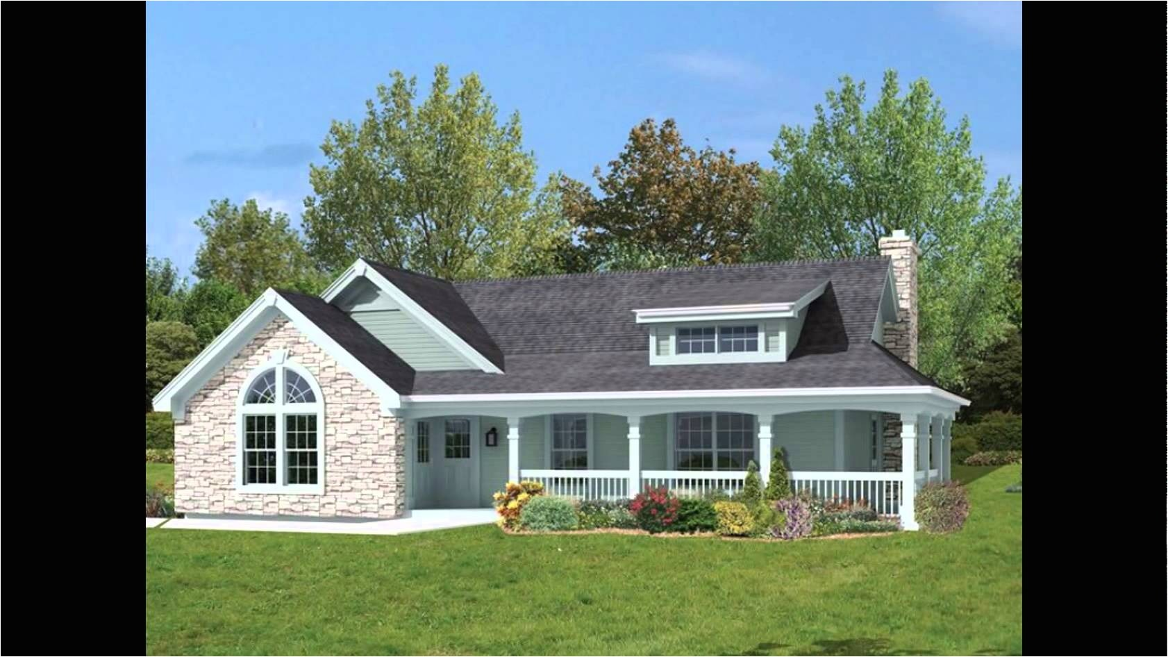 9889 one level house plans with wrap around porch