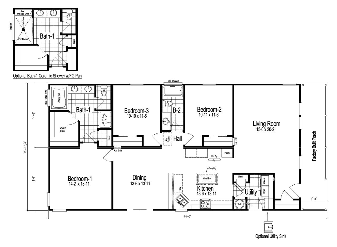 Prefab Home Floor Plans Wilmington Manufactured Home Floor Plan or Modular Floor Plans
