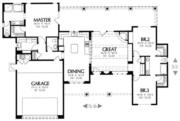 pueblo style home plan 16330md
