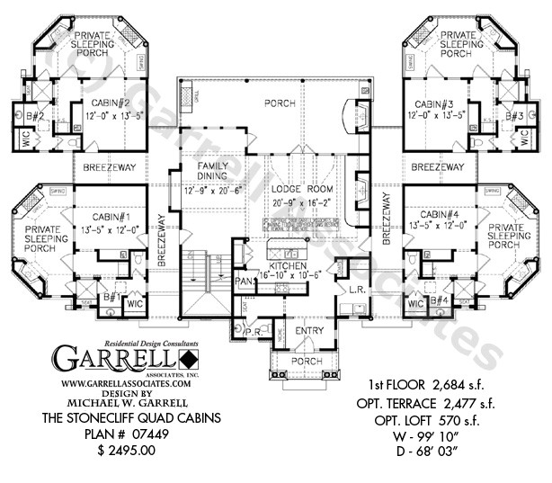 stonecliff quad cabins house plan