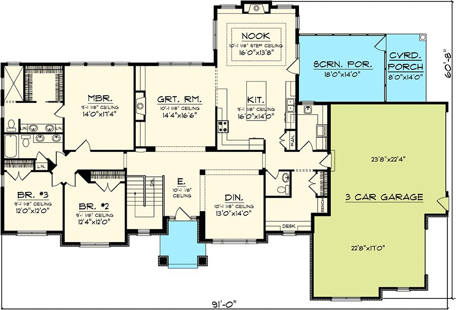 craftsman home plan 89828ah