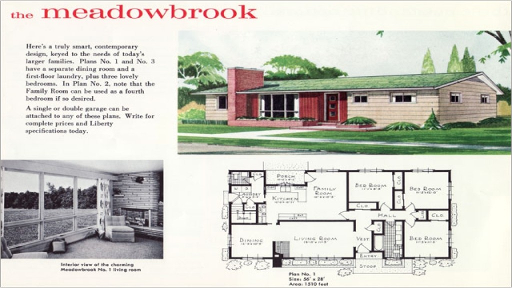mid century ranch floor plans