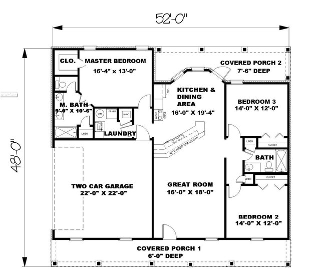ranch plan 1500 square feet 3 bedrooms 2 bathrooms
