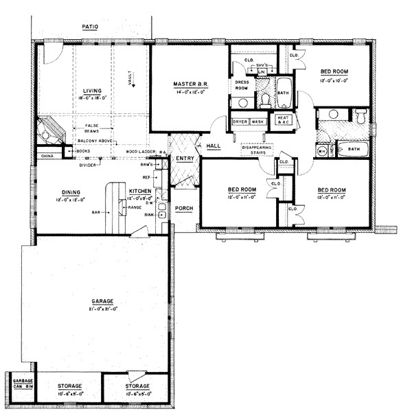 1500 square feet 4 bedrooms 2 bathroom ranch house plans 2 garage 8361